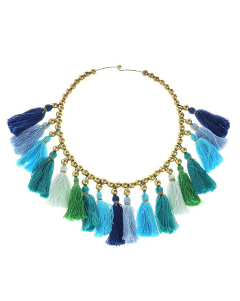caterina mariani blue rafia necklace tassels