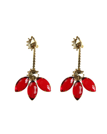Earrings red flower